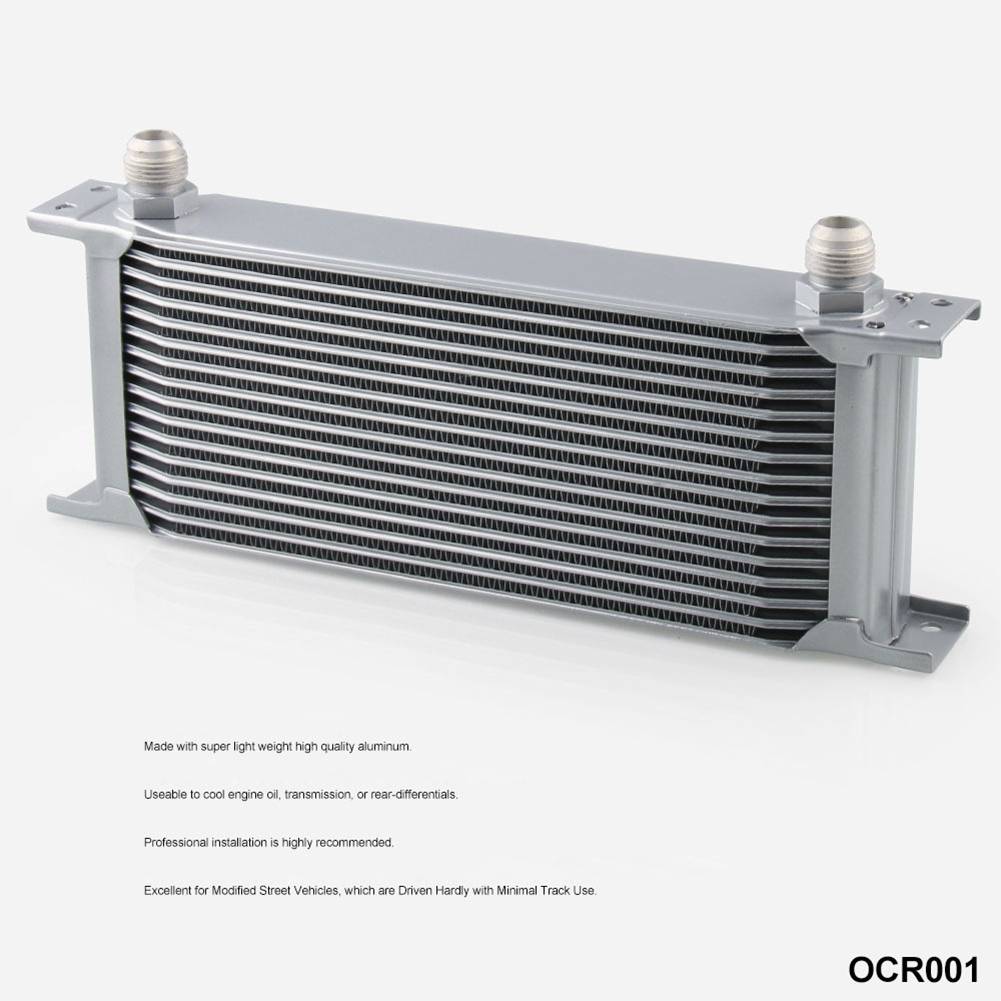 16 ROW AN-10AN Universal Aluminum Engine Transmission Oil Cooler Silver