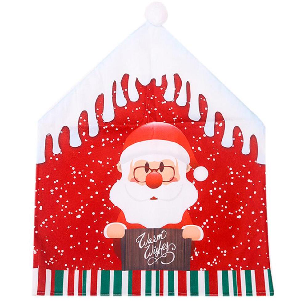 Christmas Chair Covers Cartoon Santa Claus Snowman Big Hat Chair Covers Home Party Creative Supplies color Santa Claus cartoon chair cover