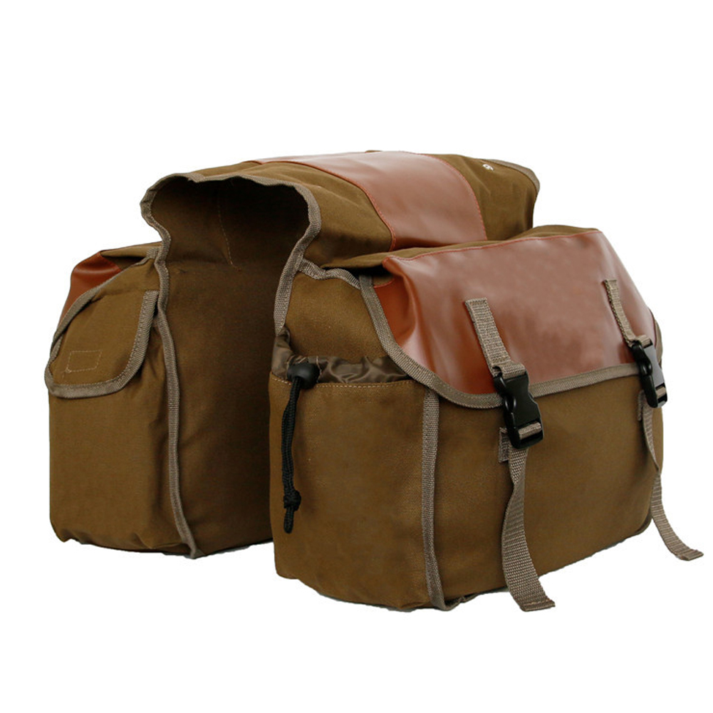 Canvas Bicycle Carrier Bag Rear Rack Trunk Bike Luggage Back Seat Pannier Khaki_Free size