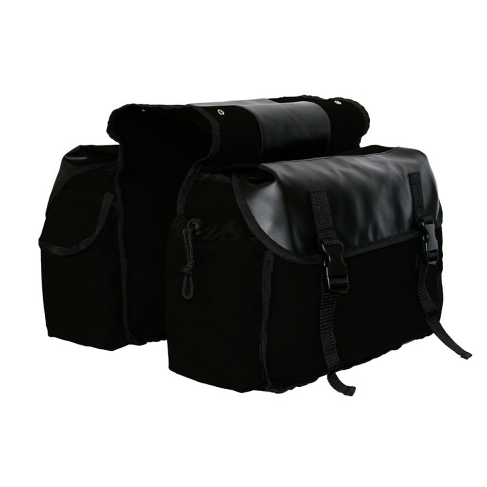 Canvas Bicycle Carrier Bag Rear Rack Trunk Bike Luggage Back Seat Pannier black_Free size
