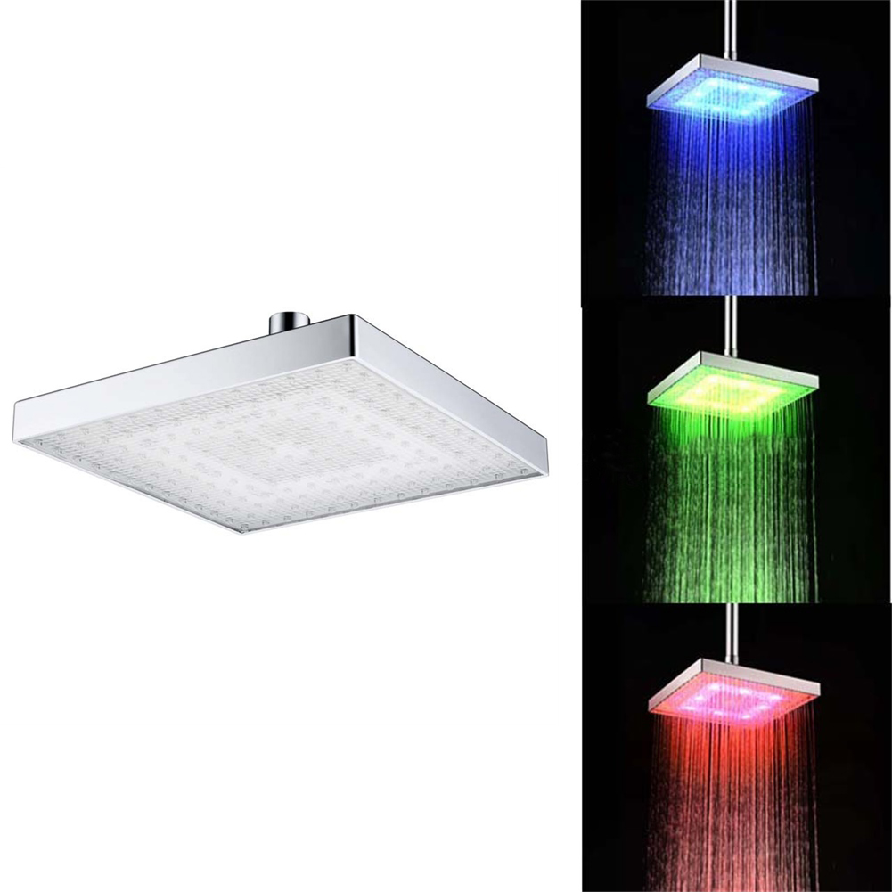 8 Inch Color Changing Square Led Top Shower  Head Temperature Sensitive 3colors Change Shower  Nozzle 1 color