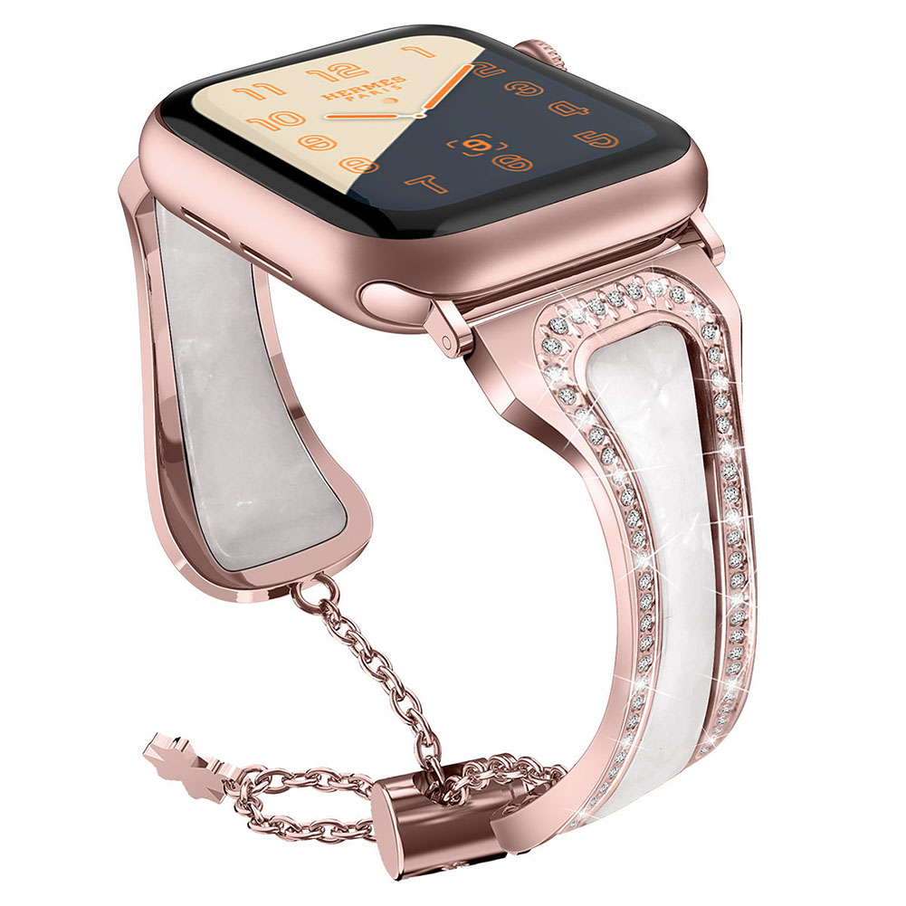 Metal Stainless Steel Resin Watch Strap for apple watch1/2/3/4 Generations Cloud white + rose powder 42mm