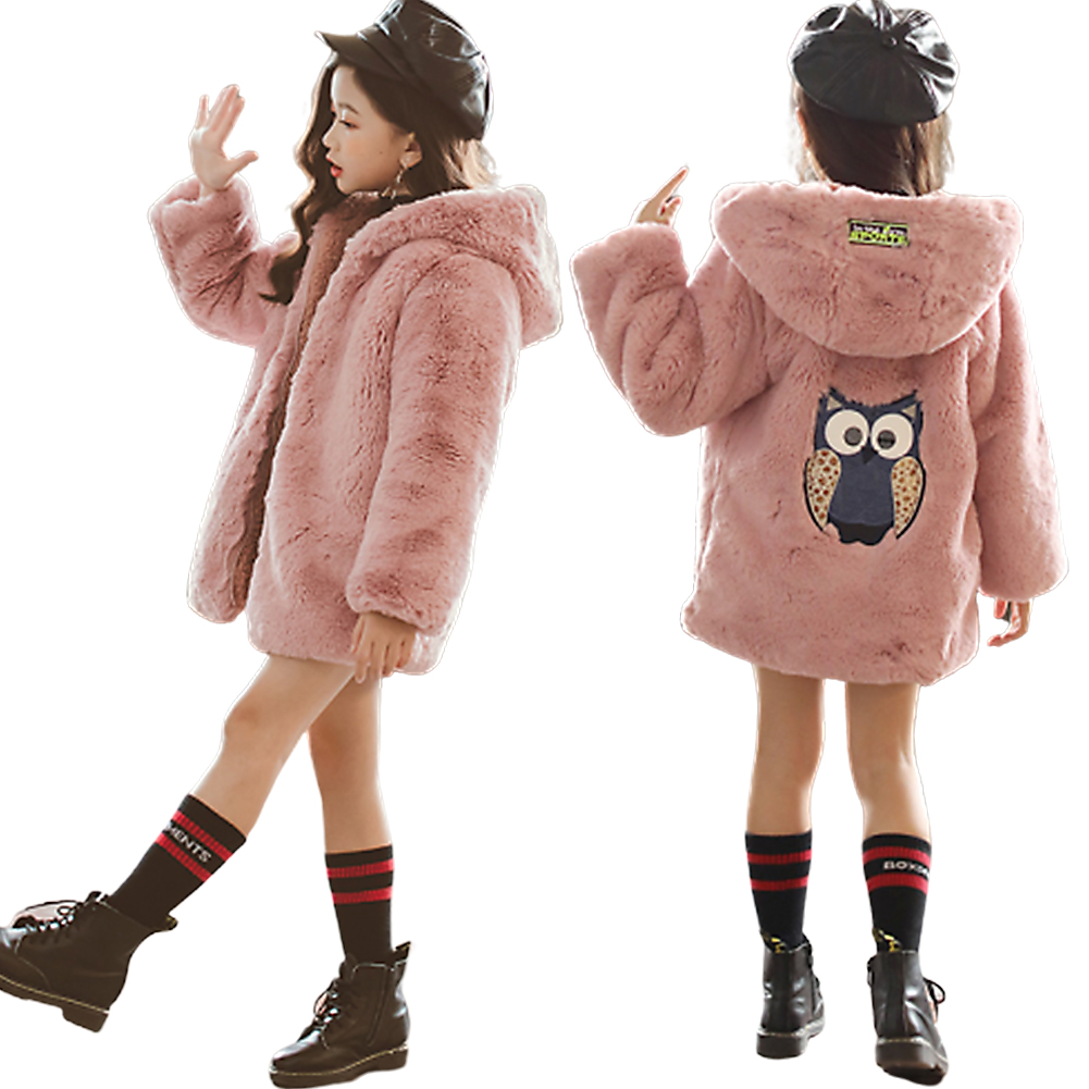 Girl Long Embroidered Thicker Flannel Cotton Single Row Buckle Jacket Sweater Pink_140cm