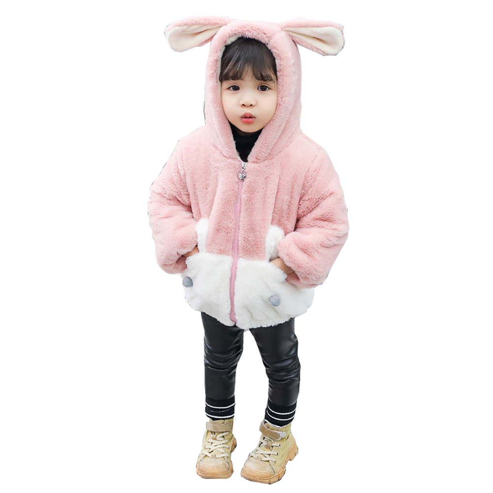 Girl Thickened Stitching Cute Cartoon Zipper Soft Plush Coats Jacket  Pink_110 yards
