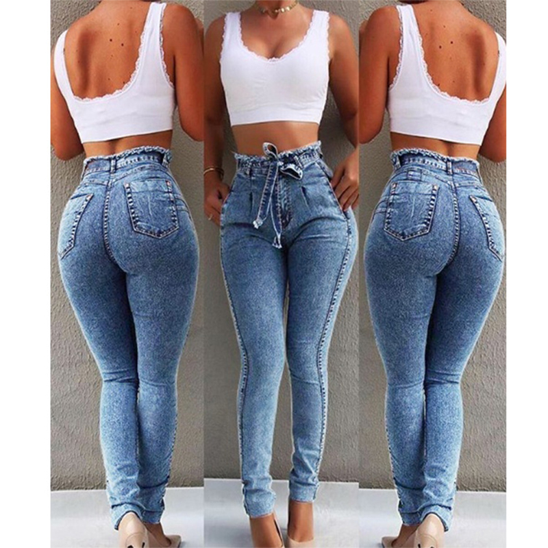 Women Stretchable Body-building Fringed Waist Belt High-waist Jeans Light blue_S