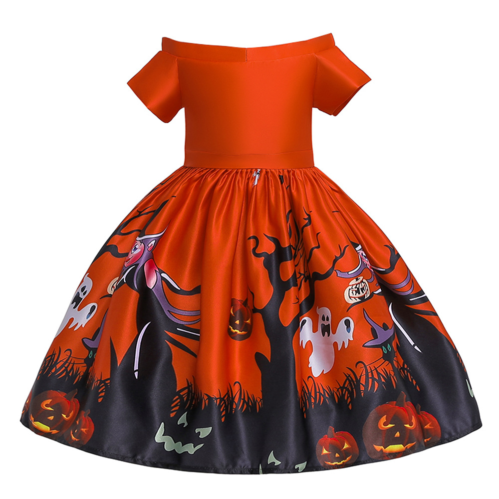 Girl Kids Full Dress Princess Style Stage Costume for Halloween Christmas Formal Dress  WS006-red_100cm