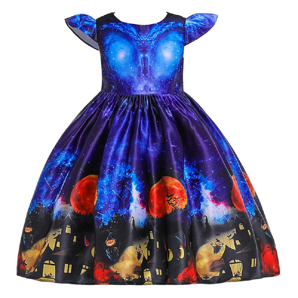 Girl Kids Full Dress Princess Style Stage Costume for Halloween Christmas Formal Dress  WS003-blue_150cm