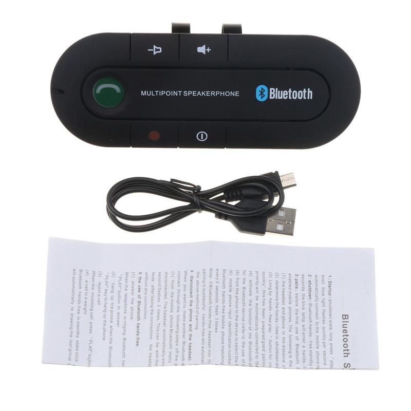 Bluetooth 4.0 Receiver Hands-free Car Kit Sun Visor Clip Audio Adapter Wireless Speakerphone Auto Stereo Mp3 Player black