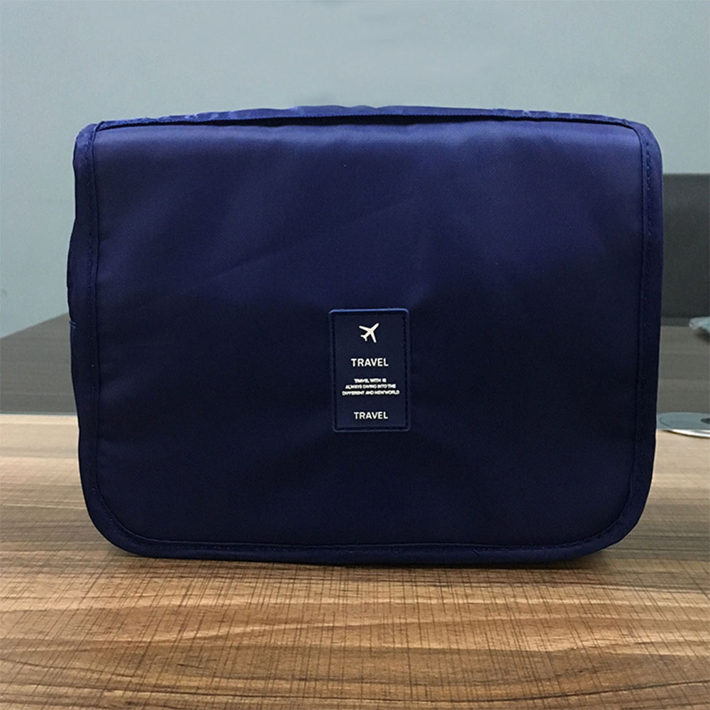 Portable Large Capacity Travel Cosmetic Storage Bag Wash Tools Makeup Bag with Hook and Small Zipper Pocket