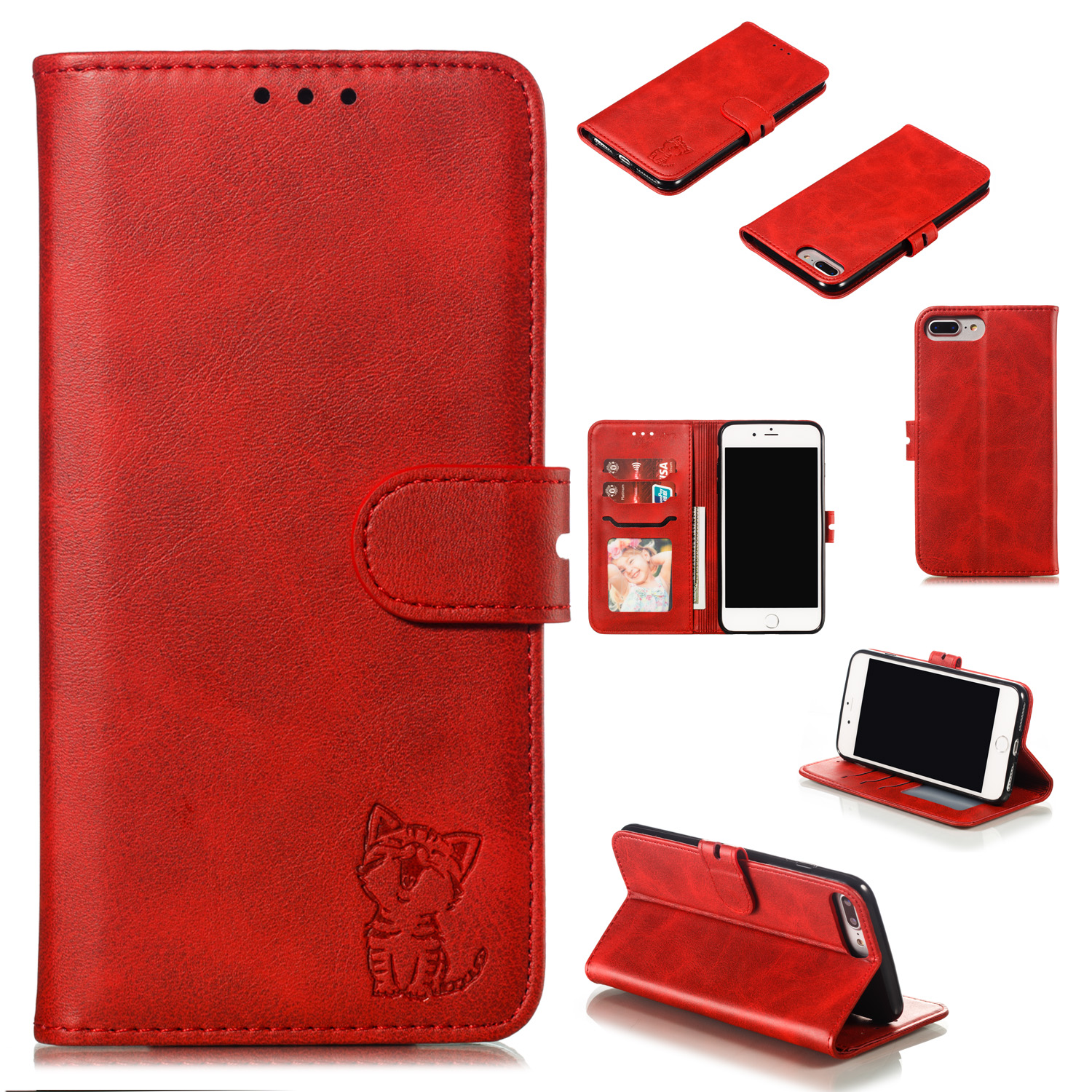For iPhone 6 plus/6S plus/7 plus/8 plus Wallet-type Cute Cartoon Embossed Happy Cat PU Leather Protective Phone Case with Buckle & Bracket red