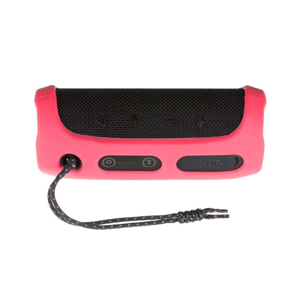 Soft Silicone Case Shockproof Waterproof Protective Sleeve for JBL Flip4 Bluetooth Speaker Rose red