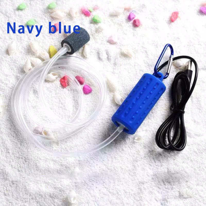 Portable Mini USB Aquarium Fish Tank Oxygen Air Pump Mute Energy Saving Supplies Accessories dark blue