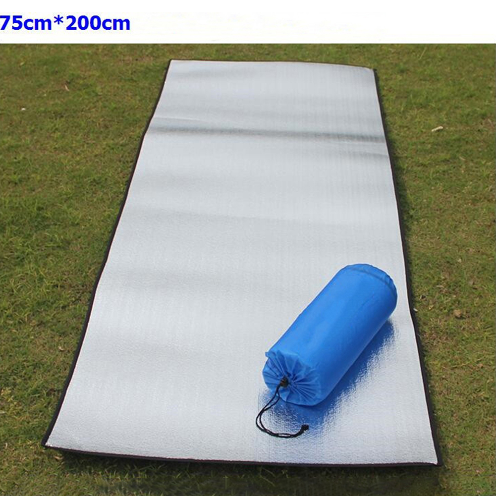 Double-sided Foldable Waterproof Aluminum Film Pad Portable Small Picnic Outdoor Camping Beach Mat Silver_Double-sided 75*200*0.25cm cloth bag
