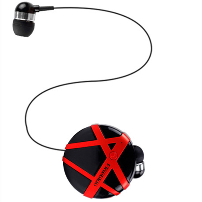FD-55 Bluetooth Earphone Handsfree Sports Headphones Clip-on Business Headset Vibration Reminder Earbud With Micphone Black + red