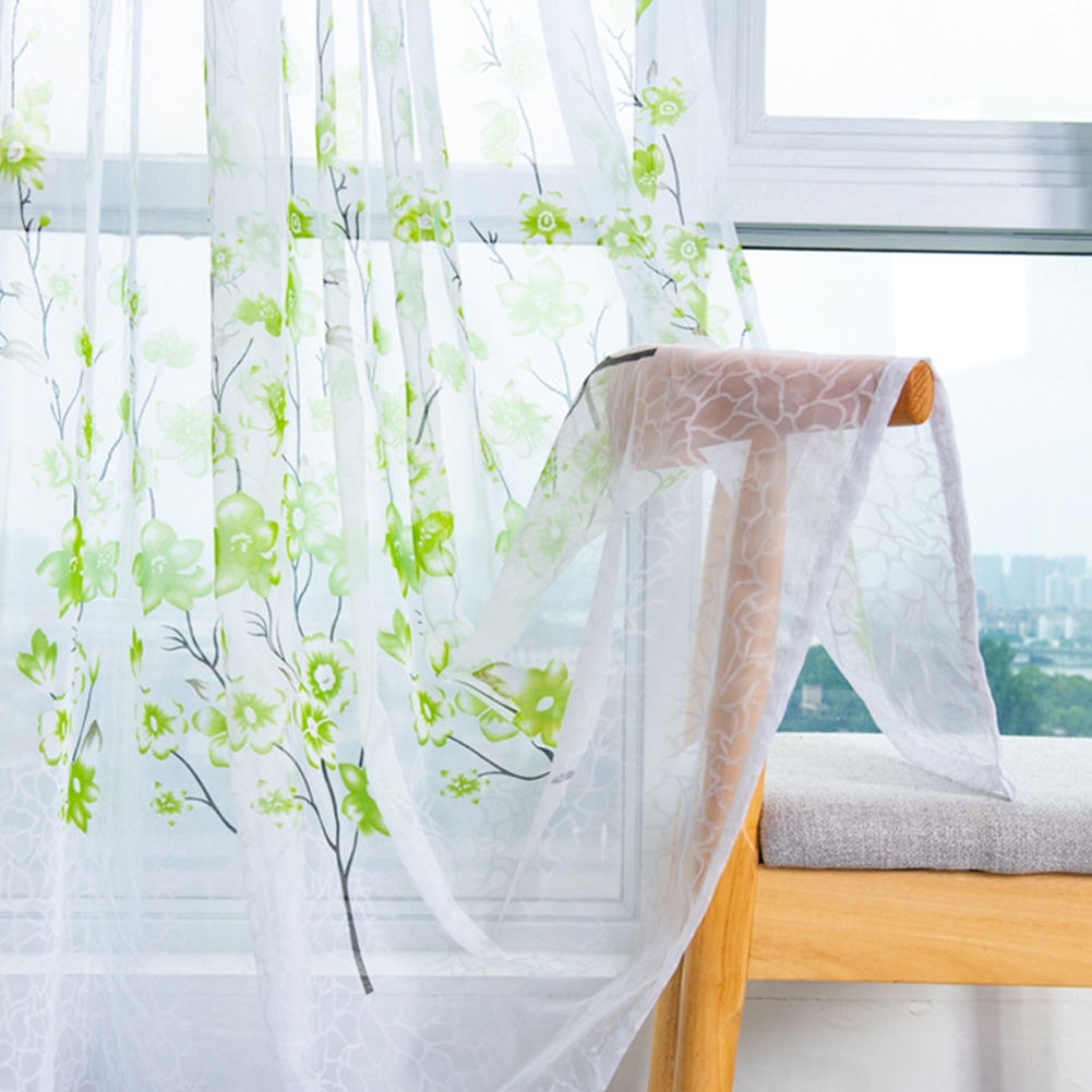 Peach Blossom Print Window Curtain for Living Room Bedroom Translucent Curtain Green peach terry_1 * 2 meters high