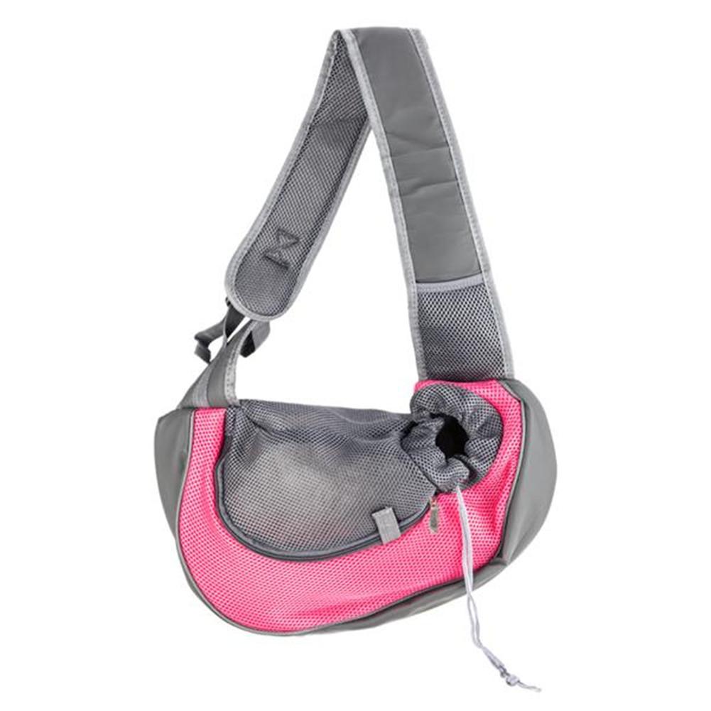 [US Direct] Pet Sling Bag Breathable Mesh Travel Safe Single Shoulder Bag For Dogs Cats M Rose red