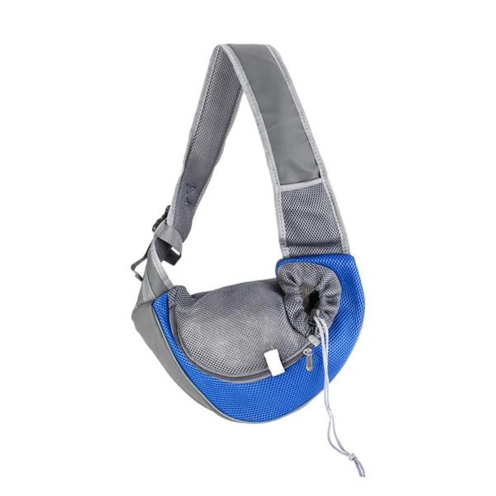 [US Direct] Pet Travel Tote Shoulder Bag Breathable Sling Backpack For Dog Cat Puppy Blue S