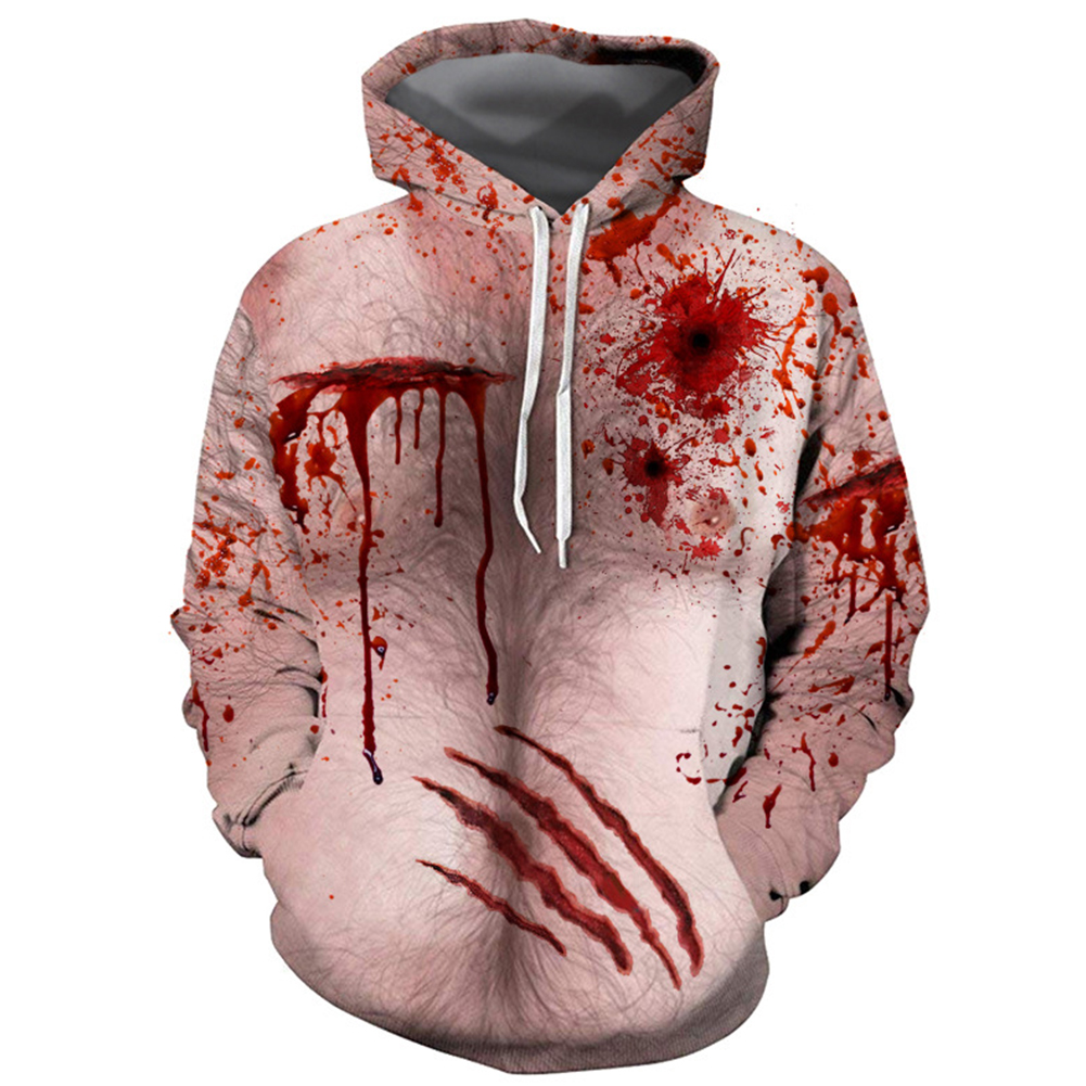 Women Men Fashion 3D Chest Hair Bloodstain Printing Hooded Sweatshirts for Halloween XSF0312_M