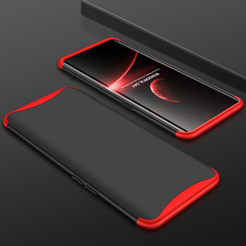 For OPPO Find X Ultra Slim PC Back Cover Non-slip Shockproof 360 Degree Full Protective Case Red black red