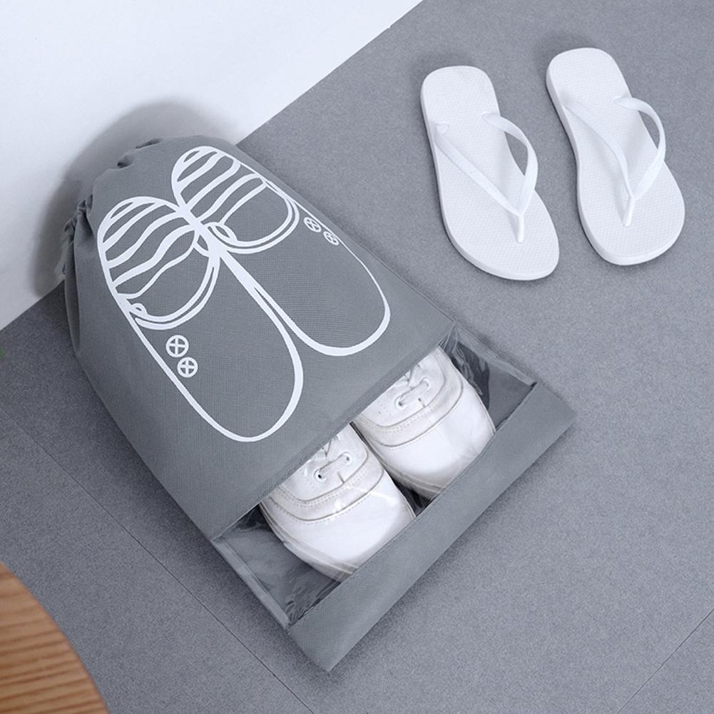 Portable Large Capacity Waterproof Drawstring Shoes Bag for Travel Storage  gray_Medium