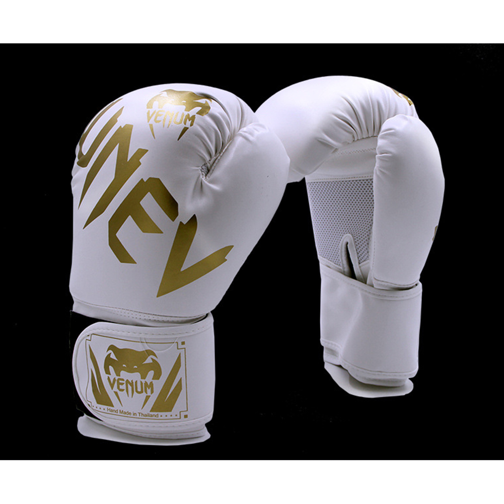 Men Women Kids PU Leather Kick Boxing Gloves Thai Boxing Sports Hands Protector white_One size M