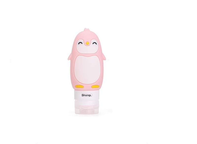 Cute Cartoon Penguin Portable Silicone Travel Bottles Travel Containers for Shampoo Conditioner Liquid Lotion pink