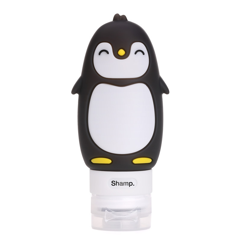 Cute Cartoon Penguin Portable Silicone Travel Bottles Travel Containers for Shampoo Conditioner Liquid Lotion blue