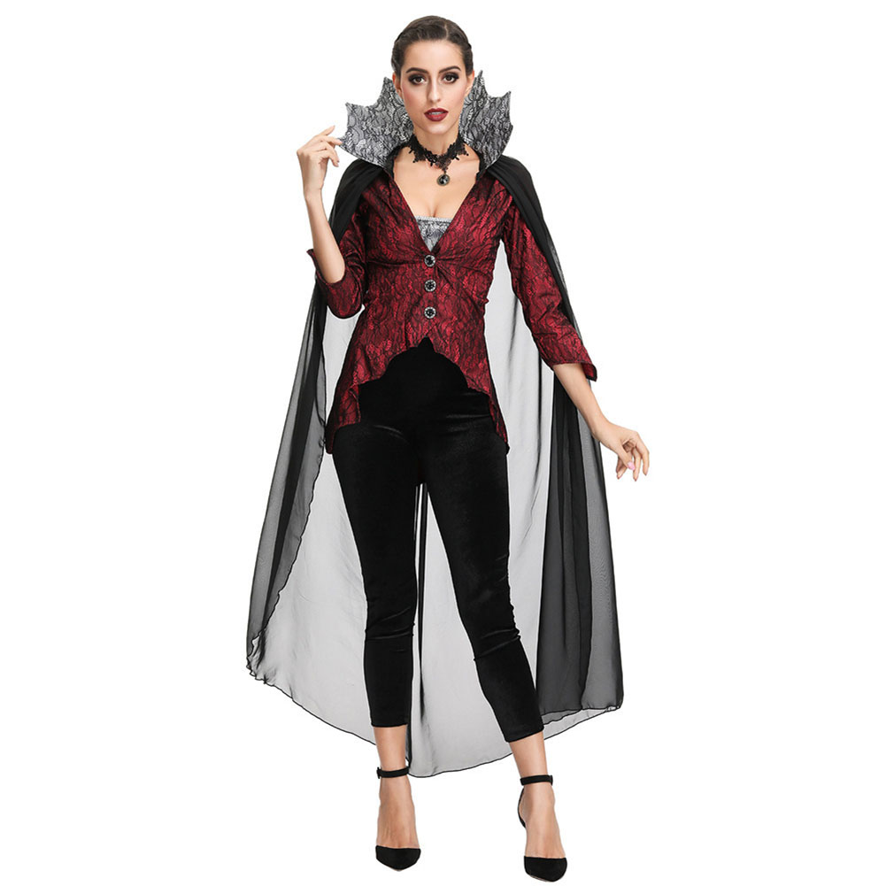 Halloween Vampire Costume Devil Monster Cosplay Party Fancy Dress Adult Vampire Queen Performance Costume for Easter Day 2905_M