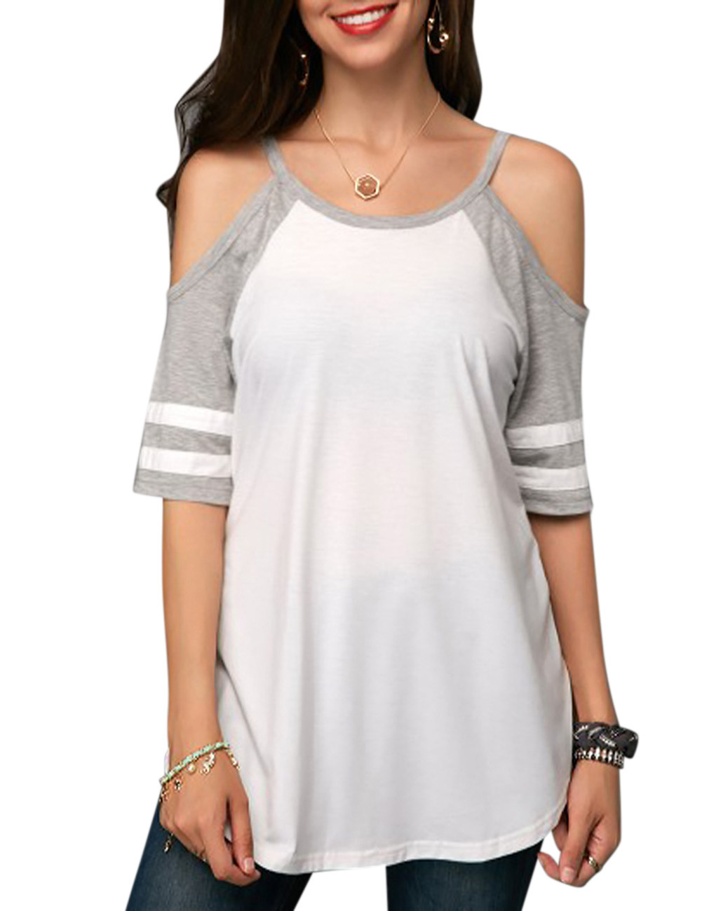 Women Off Shoulder T-Shirt Stylish Splicing Colour Short Sleeve Base Shirt Tops Gift