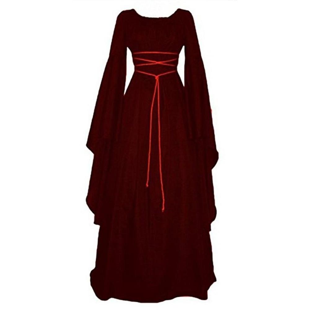 Women Long Sleeve Round Collar Belt Irregular Ladies Dress Halloween Costume Red wine_XL