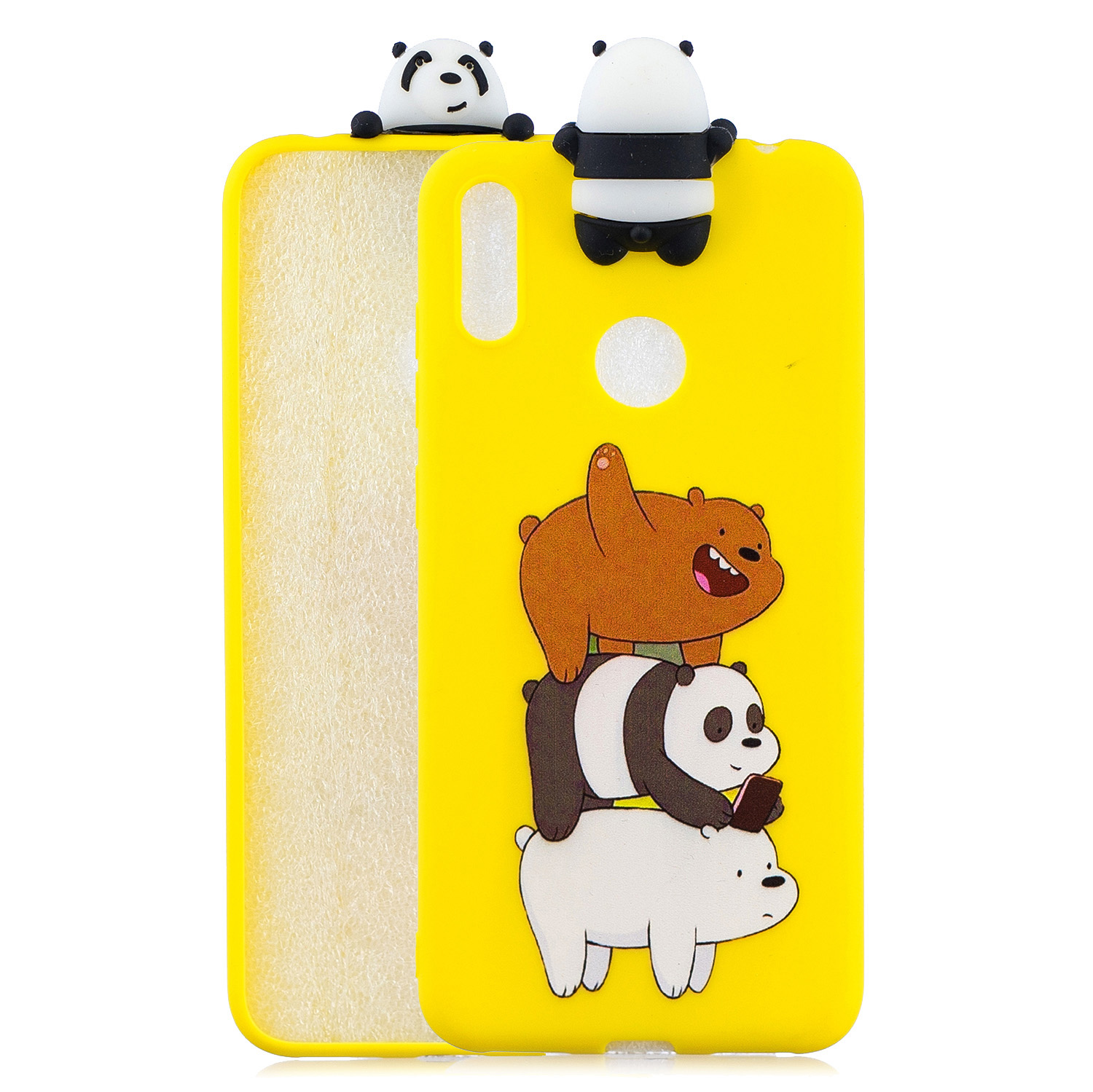 For Huawei Y6 2019 3D Cartoon Lovely Coloured Painted Soft TPU Back Cover Non-slip Shockproof Full Protective Case Striped bear