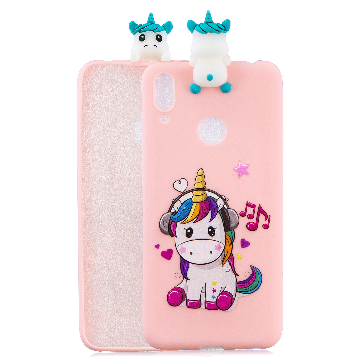 For Huawei Y6 2019 3D Cartoon Lovely Coloured Painted Soft TPU Back Cover Non-slip Shockproof Full Protective Case Music unicorn