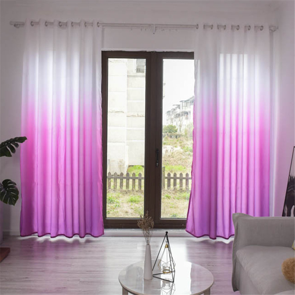 Gradient Wood Grain Printing Curtain Shading Drapes With Hanging Holes 1*2.7m High Rose red