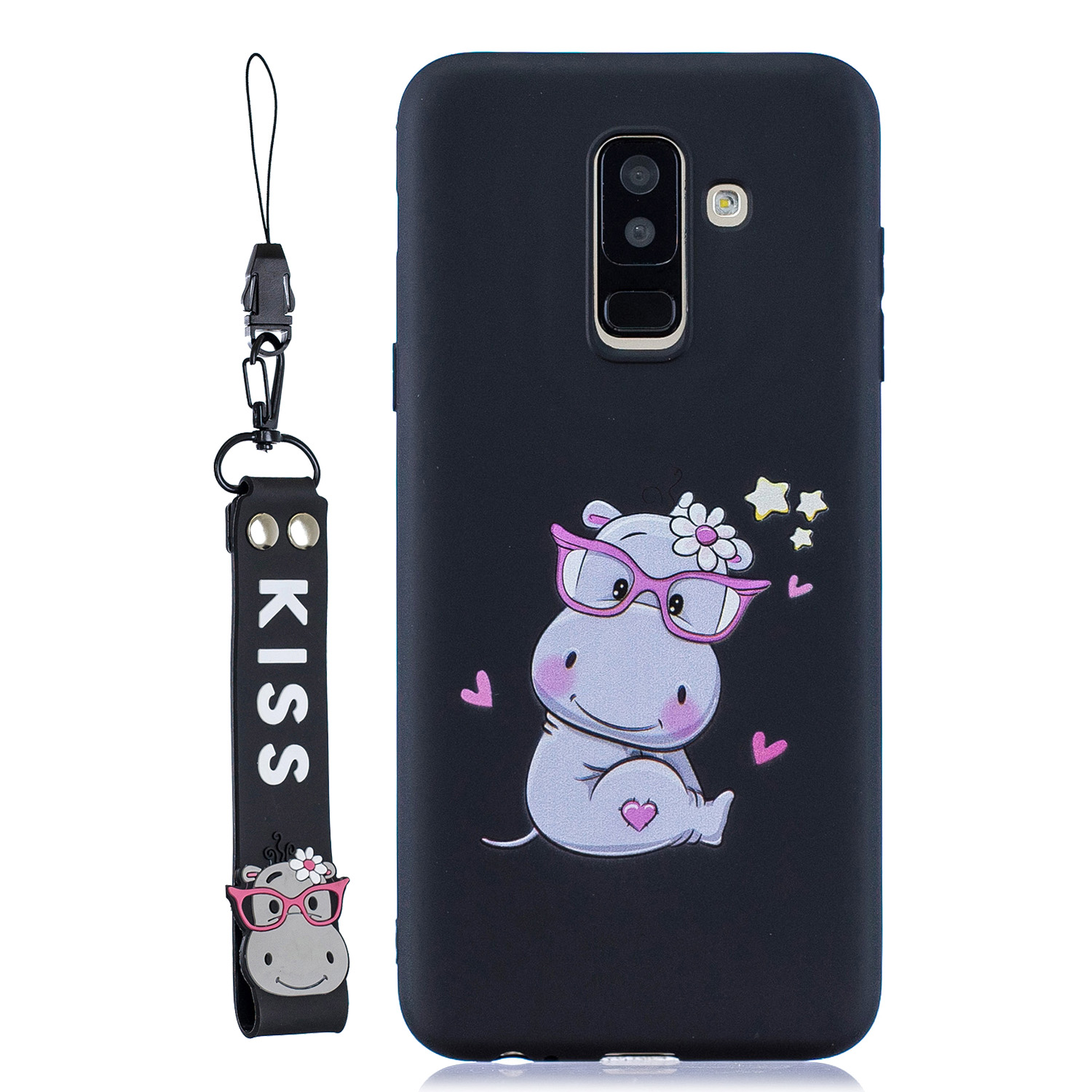 For Samsung A6 plus 2018 Cute Coloured Painted TPU Anti-scratch Non-slip Protective Cover Back Case with Lanyard black