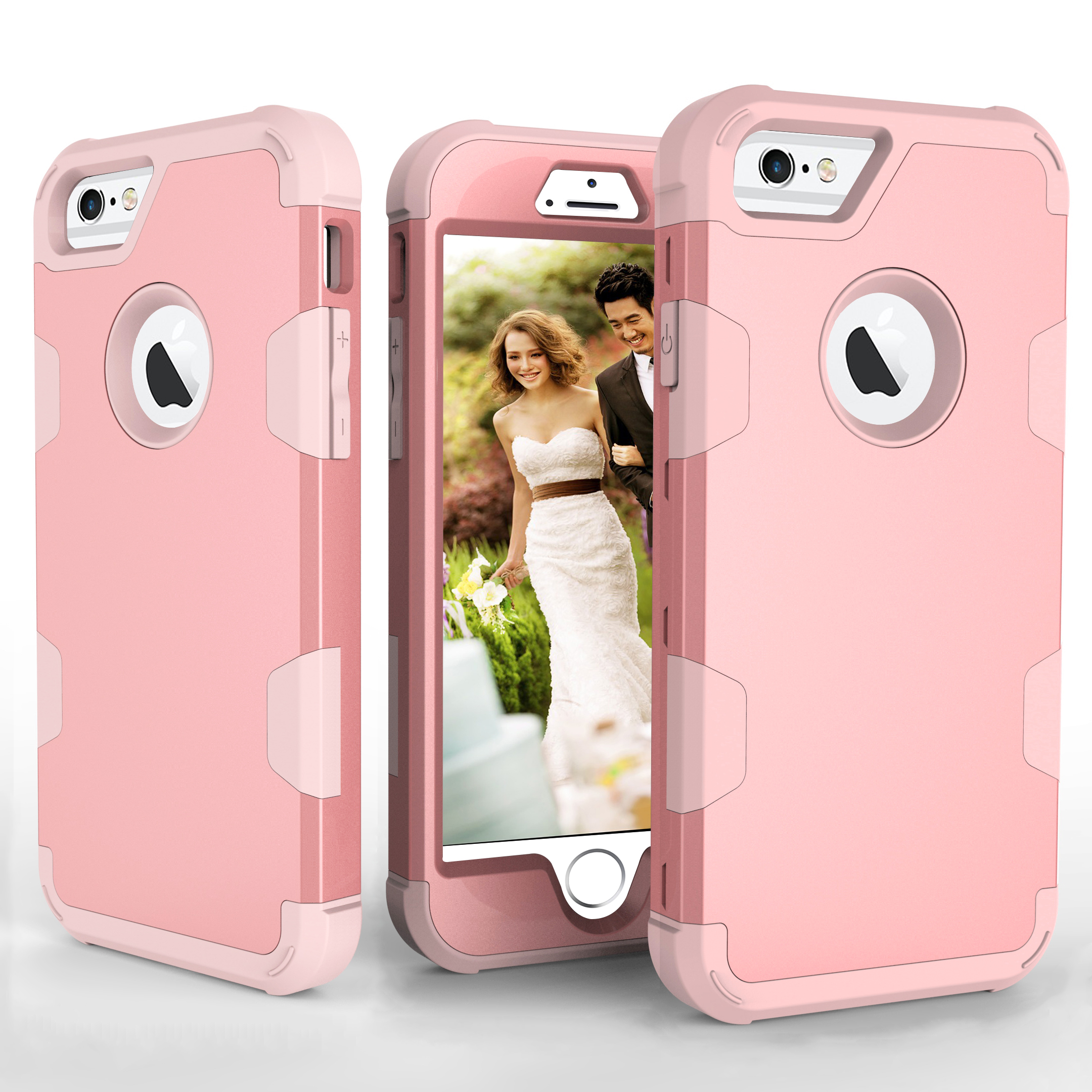 For iPhone 6/6S PC+ Silicone 2 in 1 Hit Color Tri-proof Shockproof Dustproof Anti-fall Protective Cover Back Case Rose gold