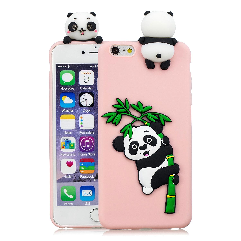 For iPhone 5/5S/SE/6/6S/6 Plus/6S Plus/7/8/7 Plus/8 Plus Phone Case 3D Cartoon Panda Bamboo Cellphone Back Shell Shockproof Smartphone Cover Pink