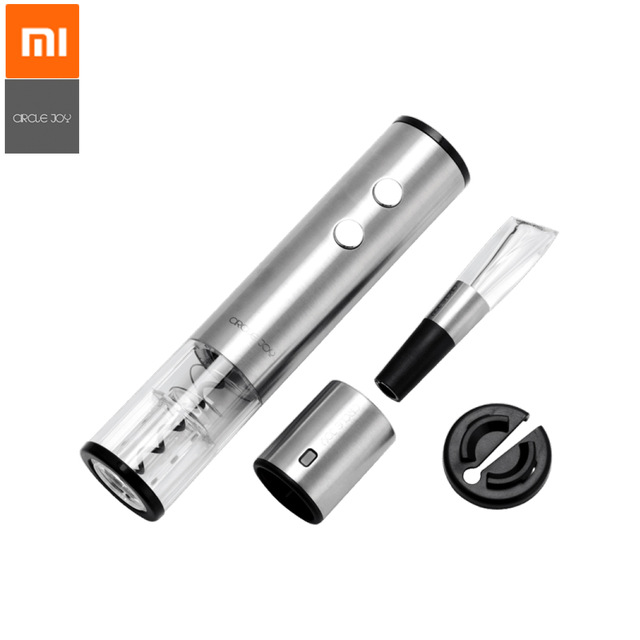 Original Xiaomi Mijia Circle Joy Electric Bottle Opener Stainless Steel Wine Stopper Wine Decanter Wine Set from Xiaomi Smart Home Black