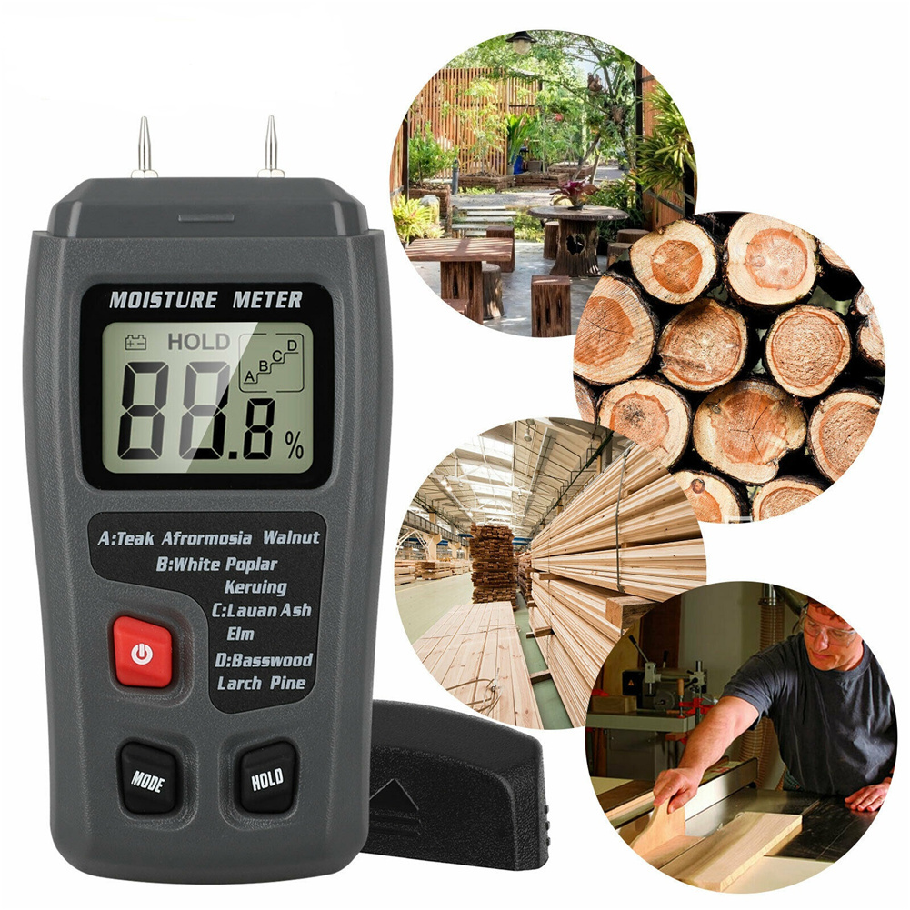O3m2 Digital Lcd Wood  Hygrometer Moisture Meter Detector Tester Measurement Tool Without battery