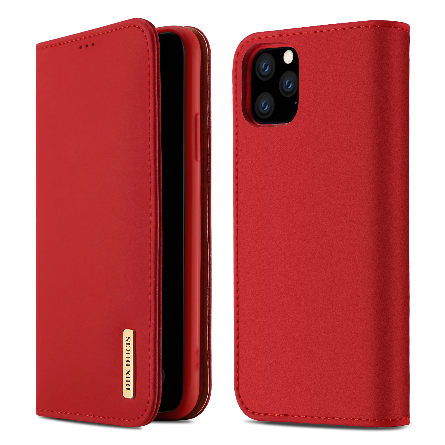 DUX DUCIS for iPhone 11 pro MAX 2019 Luxury Genuine Leather Magnetic Flip Cover Full Protective Case with Bracket Card Slot red