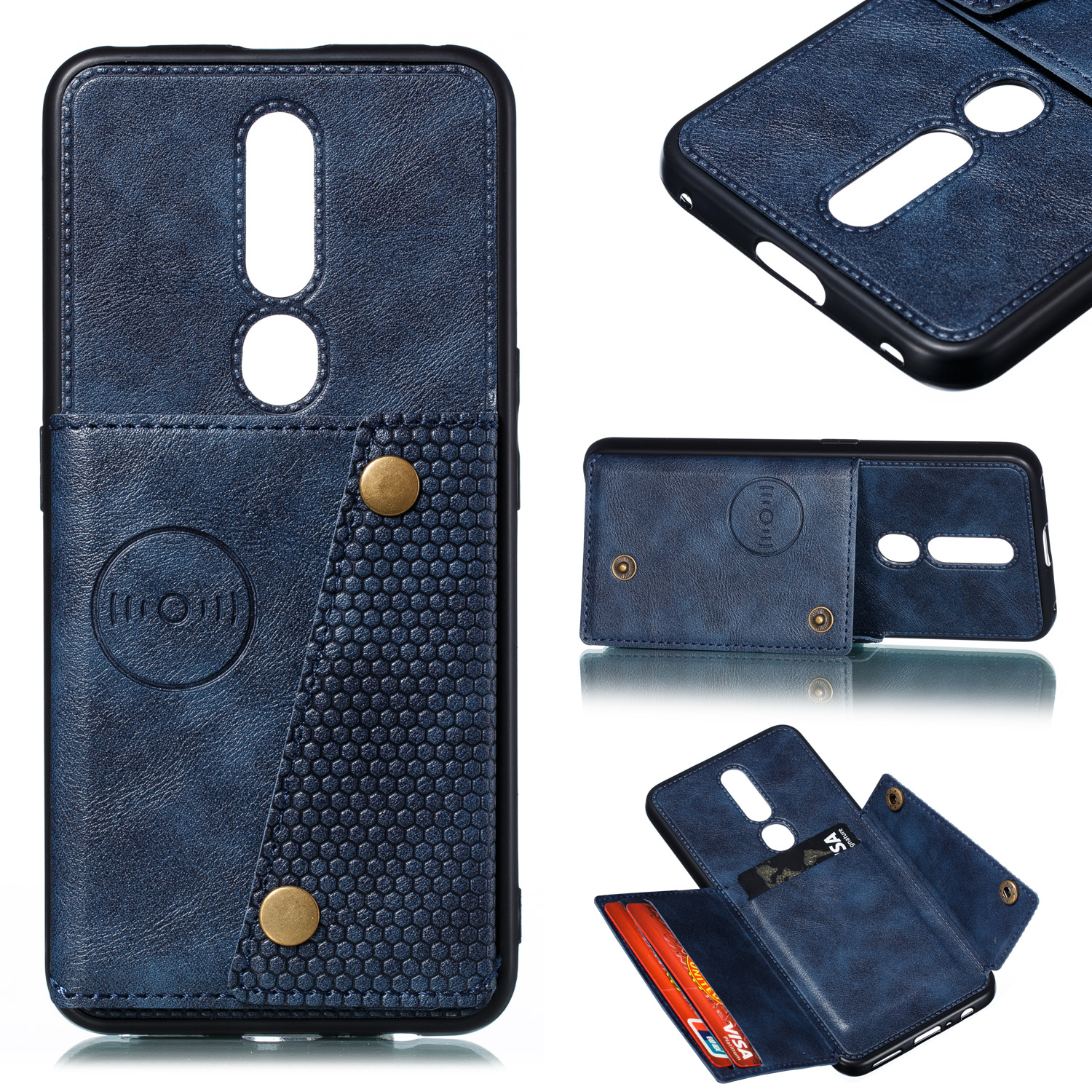 For OPPO F11 pro PU Leather Flip Stand Shockproof Cell Phone Cover Double Buckle Anti-dust Case With Card Slots Pocket blue