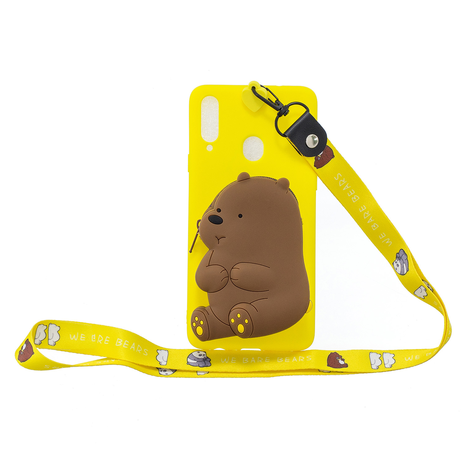 For Samsung A10S A20S TPU Full Protective Cartoon Mobile Phone Cover with Coin Purse+Hanging Lanyard 1 yellow brown bear
