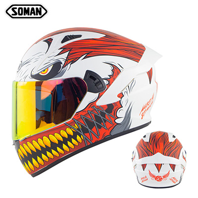 Motorcycle Helmet Anti-Fog Lens sith Fast Release Buckle and Ventilation System Wearable Ergonomic Helmet White red iron teeth copper teeth_M