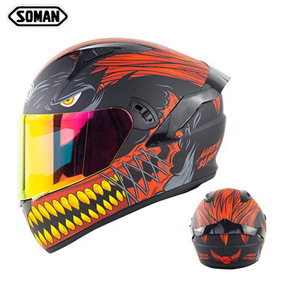 Motorcycle Helmet Anti-Fog Lens sith Fast Release Buckle and Ventilation System Wearable Ergonomic Helmet Black red iron teeth copper teeth_XXL