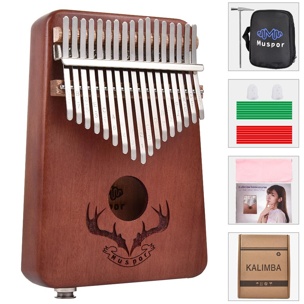 17 keys EQ kalimba Mahogany Thumb Piano Kalimba Finger Piano with Electric Pickup Tuner Hammer Beginner Music Learning brown