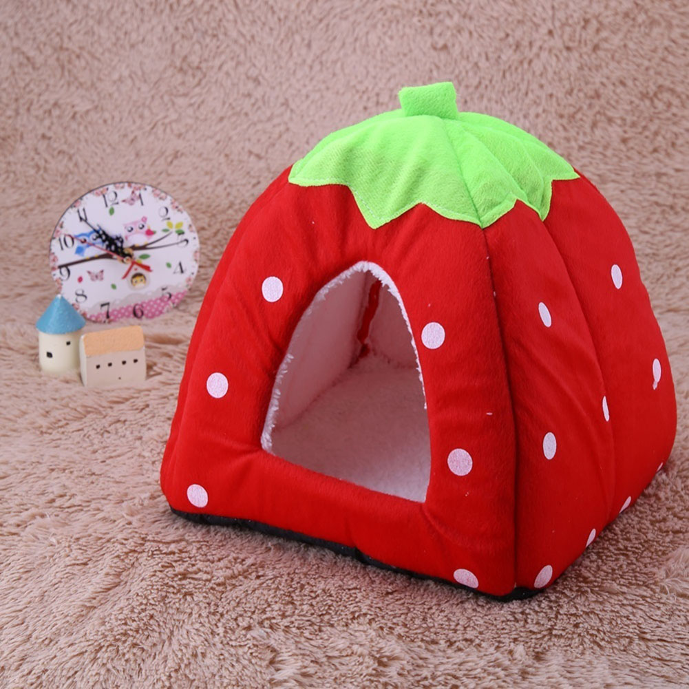 Comfortable Plush Sleeping Nest Soft Cage for Pet Cats Dogs Red strawberry_M