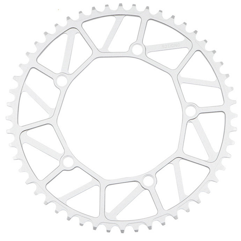 Bike Chainwheel Narrow Width Anti-hanging Chain Colorful Plating Chainring For Brompton 50 52 54 56 58T Silver