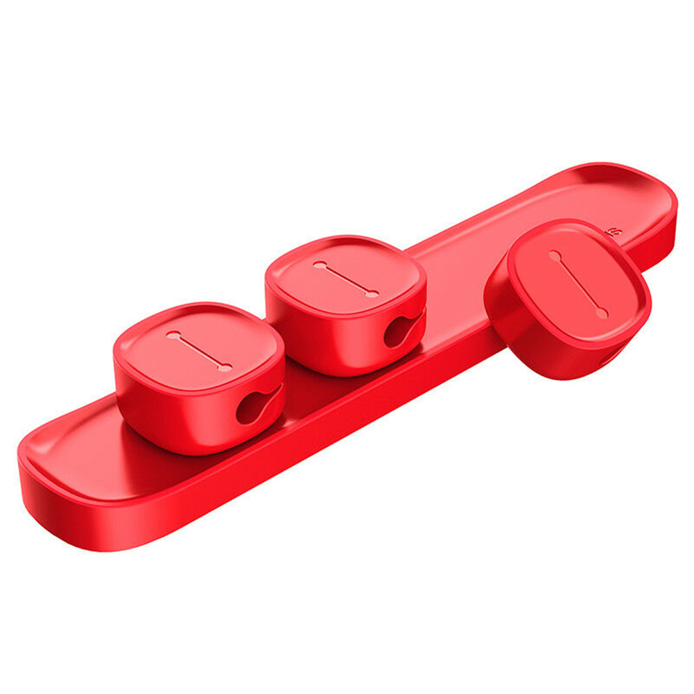 Cable Clip for Mobile Phone USB Data Cable Organizer Desktop Cable Winder red