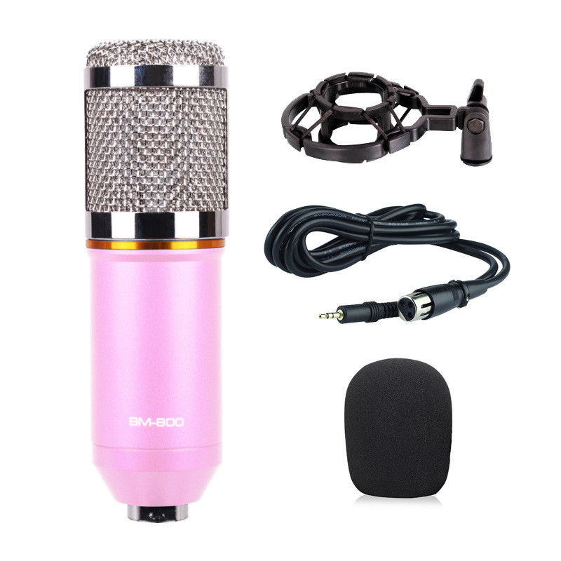 Computer Microphone 3.5mm Wired Condenser Sound Microphone for Recording Braodcasting  Pink_plastic Bracket