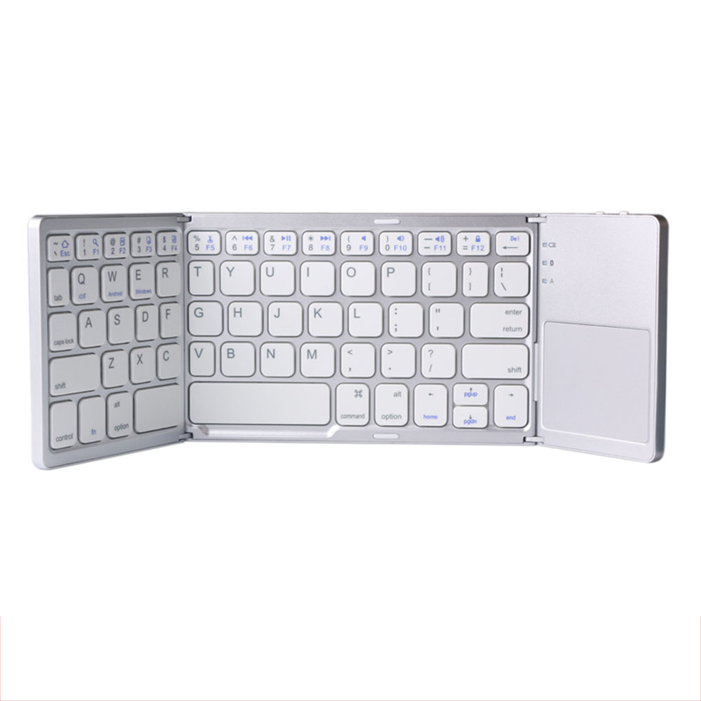 Portable Mini Three Folding Bluetooth Keyboard Wireless Foldable Touchpad Keypad for IOS/Android/Windows white