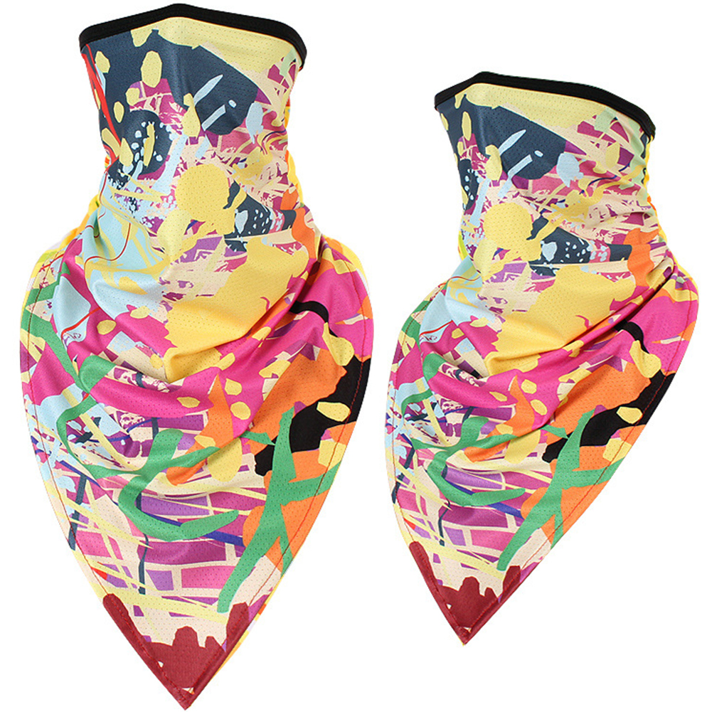 Outdoor Cycling Triangle Scarf Ice Silk Enlarged Face and Neck Sunscreen Mask  Paint_Quick-drying triangle